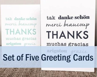 "Set of Five ""Thanks"" Greeting Cards"