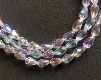 25 Clear AB Faceted Chinese Glass Teardrop Beads