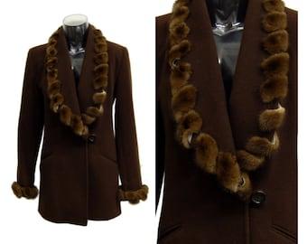 J. Percy for Marvin Richards VINTAGE 1980's Brown Faux Fur Jacket