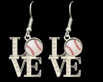 LOVE Baseball Rhinestone Earrings