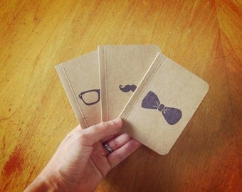 3 Hipster Notebooks Set, Pocket Journals, Original Handmade Mini Diaries and Jotters, Stamp Illustrations, Stationery Notepads