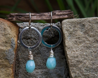 Sterling Silver Earrings with Chalcedony Briolettes