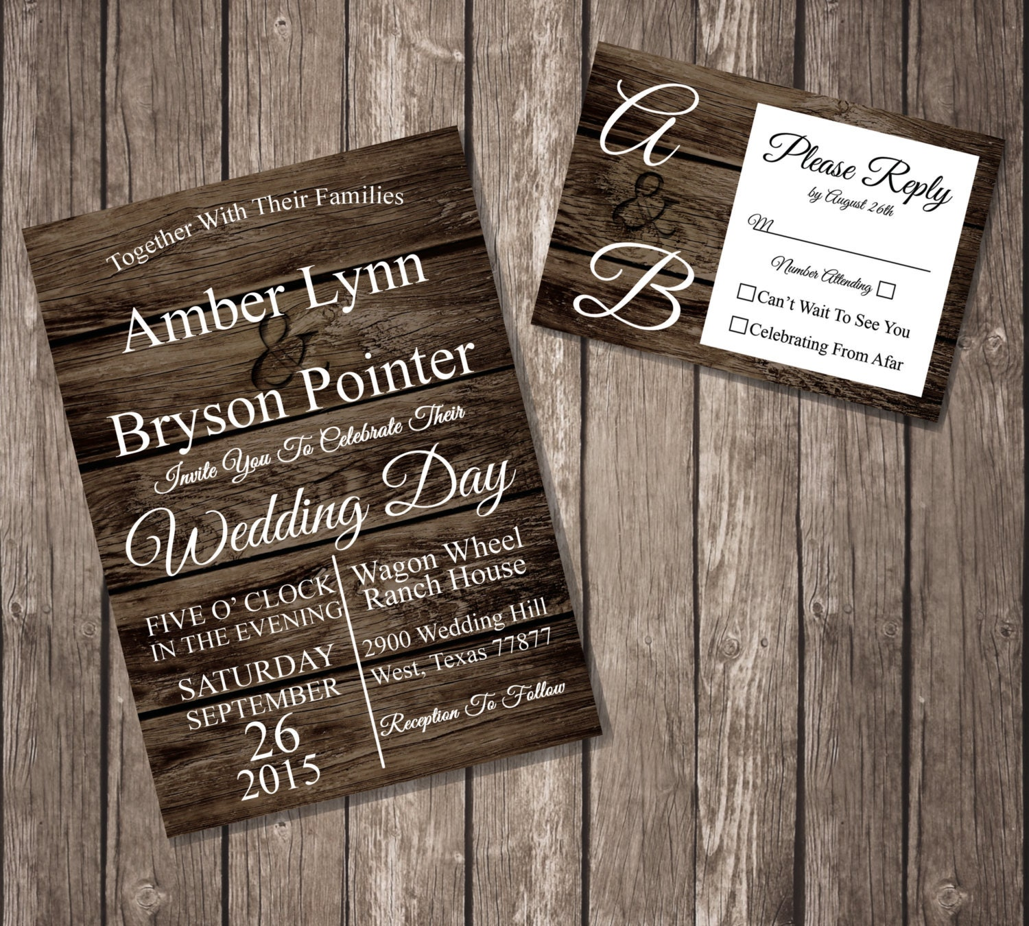 Rustic Wedding Invitation Matching RSVP By InnovativeDesignss