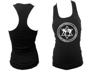 Krav maga Hebrew/English MMA black women teen girls sleeveless top S/M/L/XL