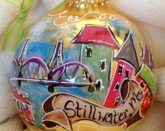 Hand Painted Ornaments by Les ~ Stillwater,Mn ~ Original Ornament