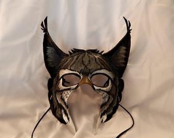 Gray European Lynx Leather Mask