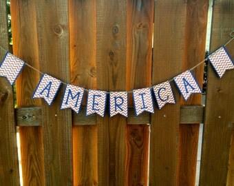 "Chevron ""America"" Paper Pennant Banner"
