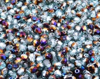 100pcs Czech Fire-Polished Faceted Glass Beads Round 4mm Aquamarine Zairit