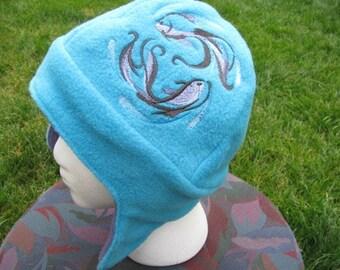 Brushstroke Koi Duo on Blue and Purple Fleece Ear Flap Hat