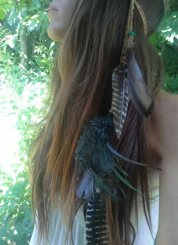 Feather Headband Boho Bohemian Native American Braided