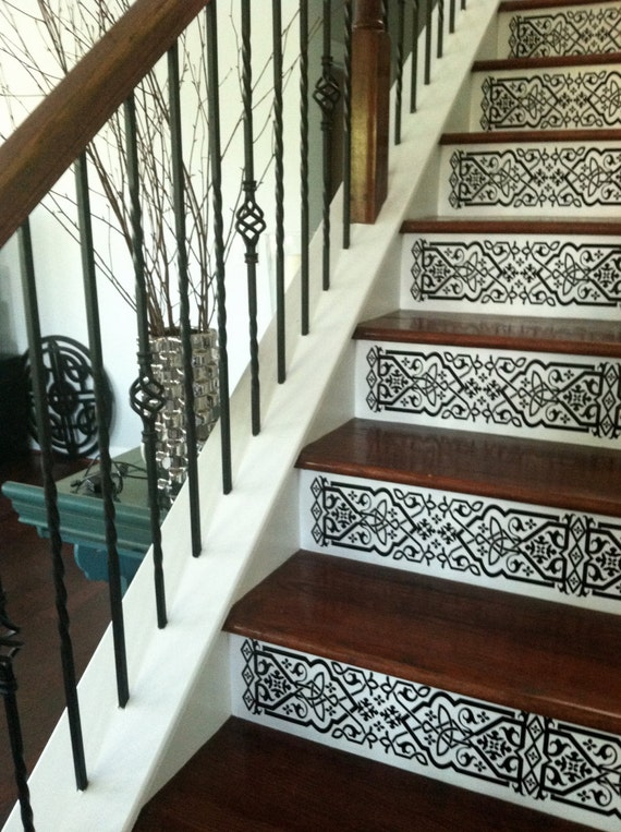 Items Similar To Staircase Riser Vinyl Decal Scroll