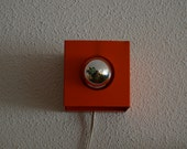 Philips NWS 67 orange metal sconce for silver cupped lamp, seventies design