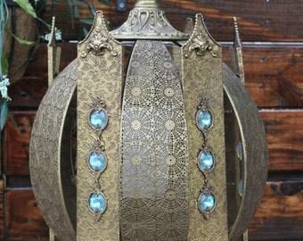 Mertensia Virginica Hollywood Regency Hanging Swag Lamp