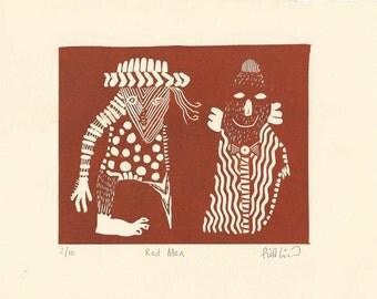Red Men Original Linocut