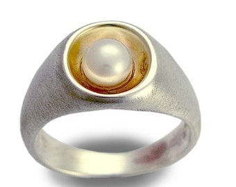 Silver Gold pearl ring, Sterling silver ring, Engagement ring, Yellow Gold ring, Chunky silver ring, two tones ring, Pearl bridal ring, Sale