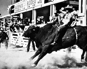 Rodeo poster, Phoenix, Arizona, 1930's, Bull Riding, Cowboy, Bull Rider