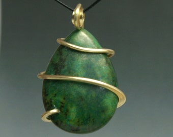 Green Stone Cold Forged Brass Pendant