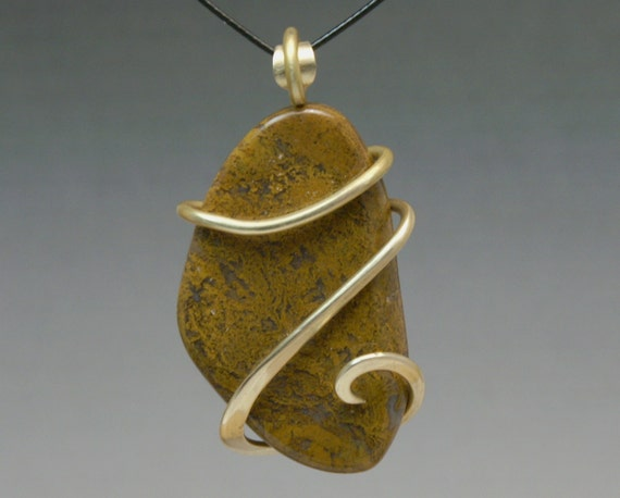 Golden Moss Agate: Yellow Moss Agate Cold Forged Brass Pendant