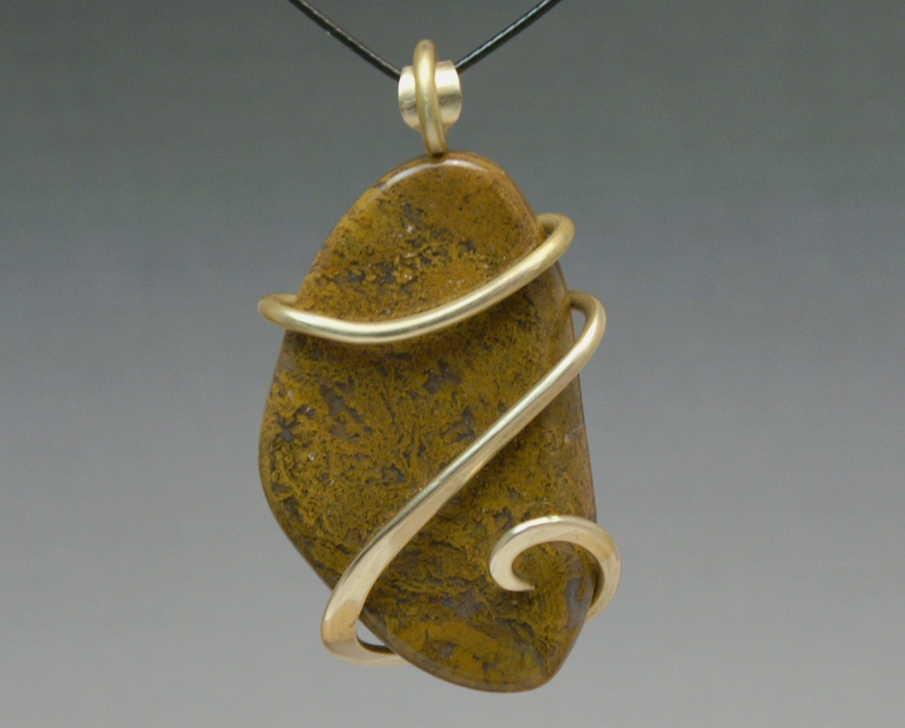 Yellow Moss Agate Cold Forged Brass Pendant