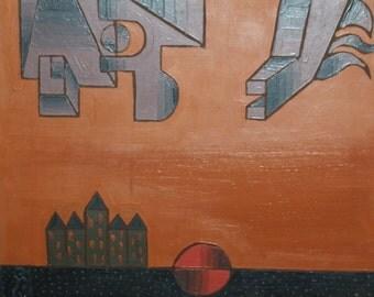 1989 Avant garde cubist landscape Oil Painting, Signed
