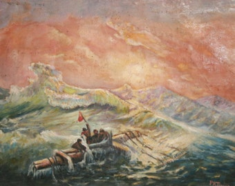1968 Impressionist Oil Painting Seascape Marine Castaways,Signed