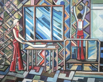 Vintage Cubist Abstract Figures Oil Painting