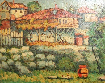 1990 Impressionist landscape oil painting signed