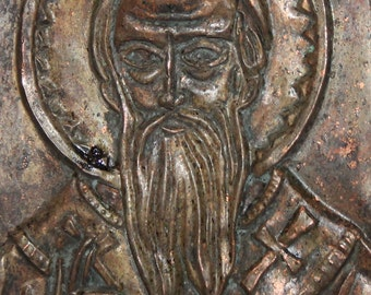 Vintage Hand made Religious copper relief plaque icon
