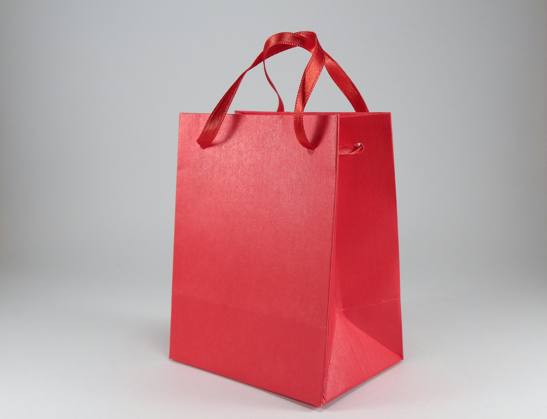 Small Wedding Gift Bags: 50 Extra Small Gift Bags Red Satin Ribbon Handles Kraft