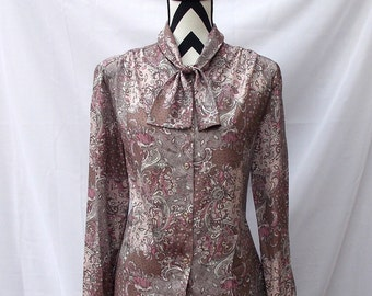 Paisley Secretary Blouse with Bow