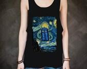 Tardis Starry Night Doctor who Art Painting_For Black_Tanktop Women