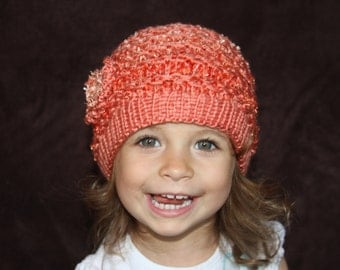 Baby Girl Hat, Flower Hat, Knitted Baby Hat. Crochet hat. Age 2-3