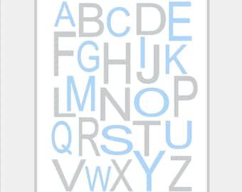 Boy nursery wall art, alphabet Print - Light Blue Grey/Gray - ABC Nursery - Modern Alphabet - Kids Wall Art, Kids Room, Playroom.8x10 print.