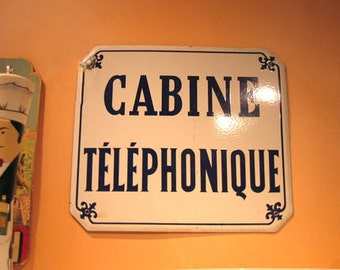 "Vintage French Enamel Sign ""Cabine Telephonique"""