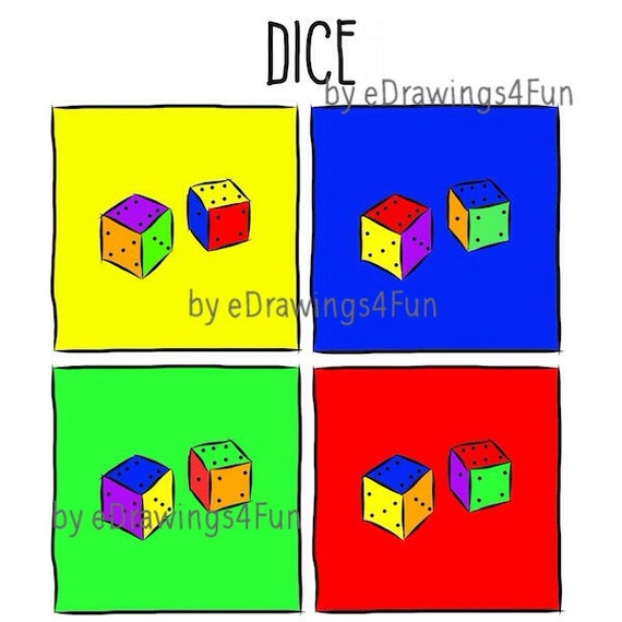 Color dice printable digital artwork print by edrawings4fun for Table mats design your own
