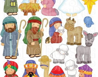 Nativity Digital Clip Art Set -Personal and Commercial- Christmas, Baby Jesus, Mary, Wiseman, Stable, Star, Camel, Sheep, Angel, Holiday