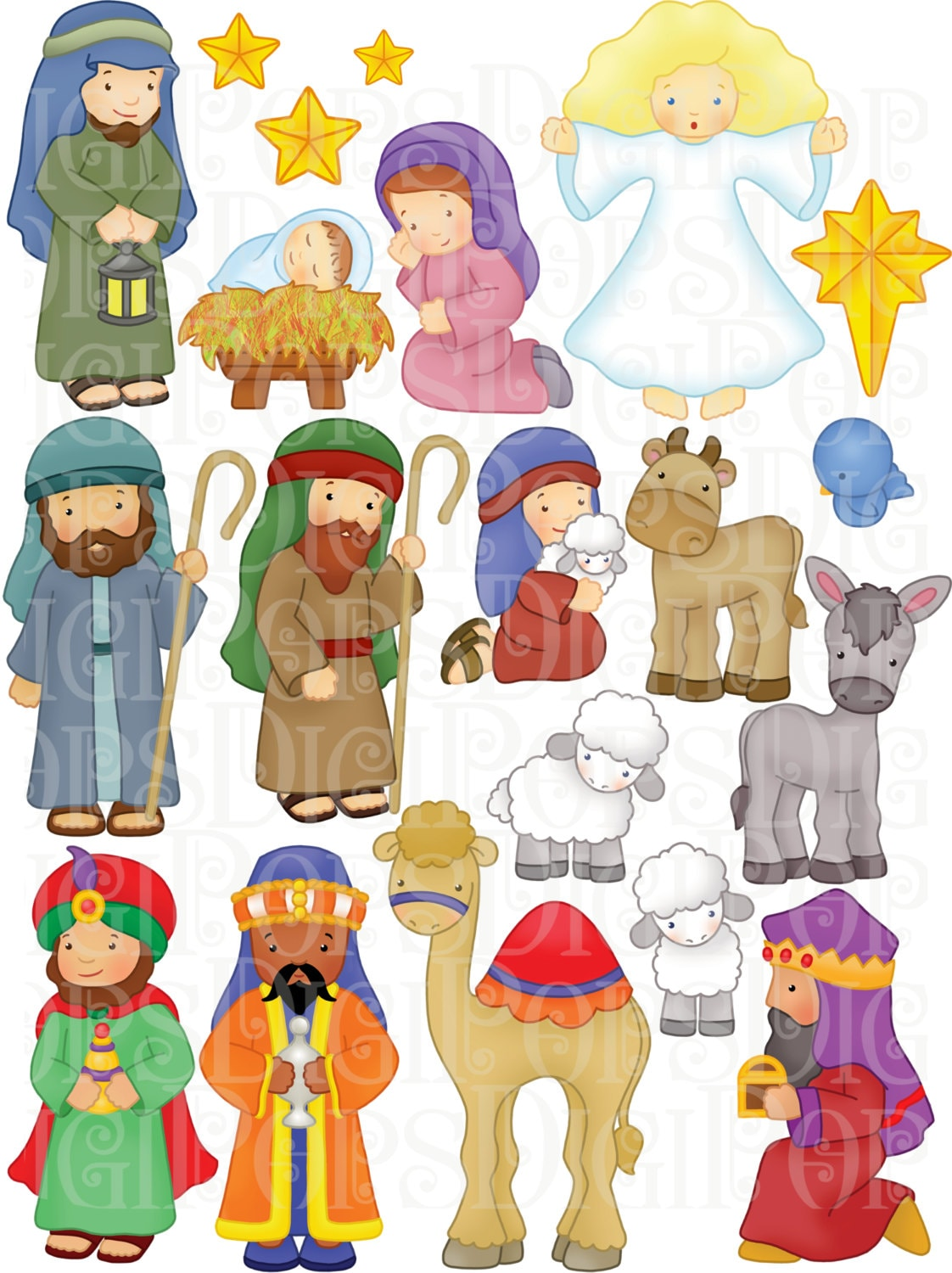 Nativity Digital Clip Art Set Personal and Commercial