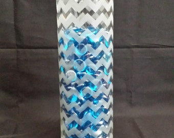 Chevron Etched Glass Vase