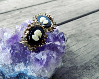 Vintage Black and White Cameo Earrings