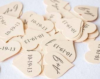 Heart Shaped Wedding Confetti, Bridal Shower Confetti, Initials & Wedding Date Confetti, Wedding Table Decor