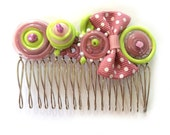 Hair Comb, Beaded Hairpiece, Lime Green and Light Pink, Holidays Accessories, Hair Accessories, Bow Comb, Hair Clip, Lampwork accessories