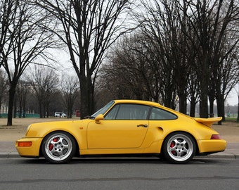 Poster of Porsche 911 964 Turbo S Leichtbau Left Side Yellow HD Print