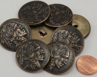"Lot of 8 Large Antiqued Brass Tone Indian Head Metal Buttons 1  1/8"" 29mm"
