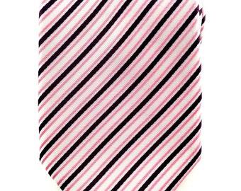 Mens Necktie Pink and White Striped Necktie 8.5cm Party Tie.Casual Tie.Handmade Tie. Pink tie.Formal Suit Tie.Business Tie.Wedding Tie.