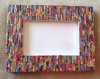 Picture Frame- Colorful- Handmade- Original - 4x6 - Gift - Magazine picture frame -picture frame-Repurposed-  Magazine art - multi-color