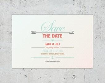 Nautical Wedding Save the Date | Printable DIY | Color Customizable