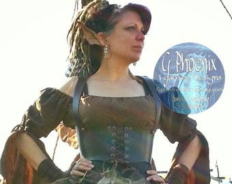 Leather Pirate Cincher Larp Cosplay Renaissance Faire Festival Halloween Costume Convention