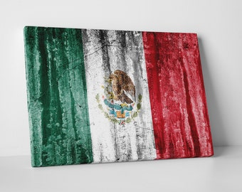 Vintage Mexico Flag Gallery Wrapped Canvas Print