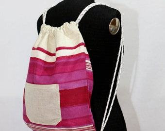 Colored Backpack, natural and fuchsia cotton