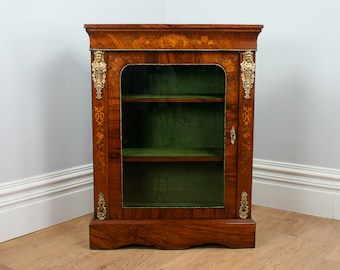 Antique English Burr Walnut Inlaid Victorian Pier Cabinet (Circa 1850)